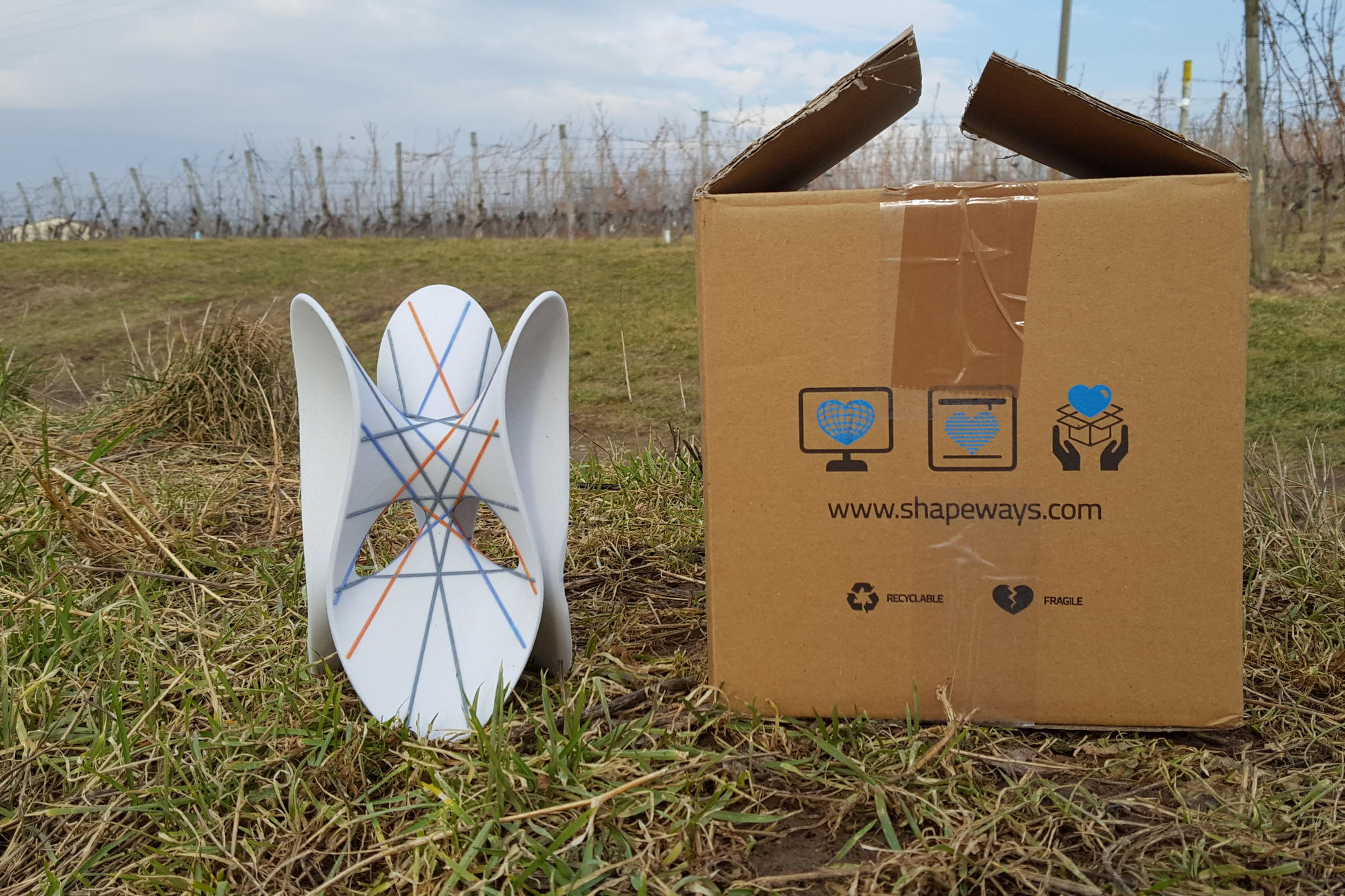 package with a MO-Labs math sculpture in the vineyards