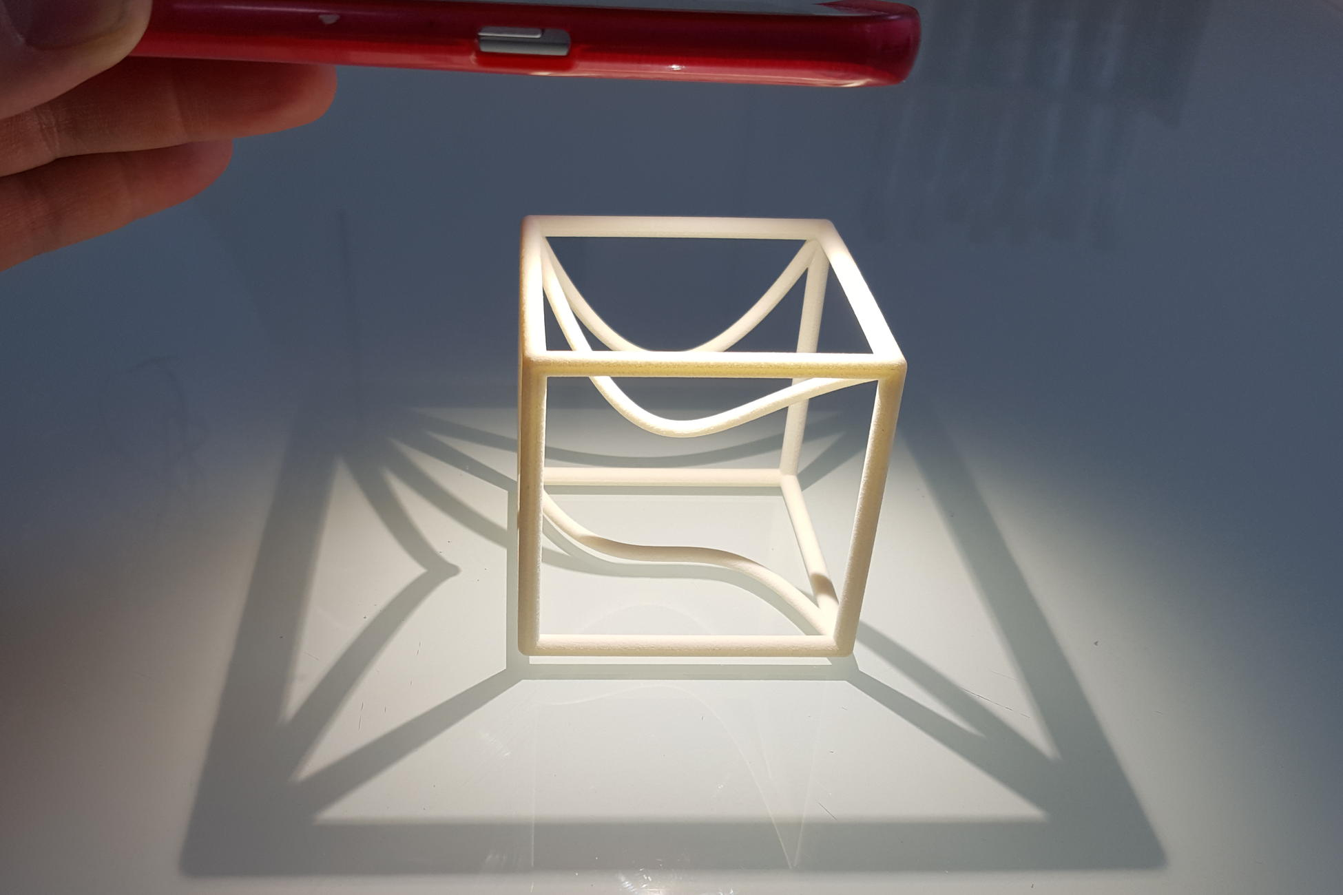 Space Curve in a cube with projections (1b) - a MO-Labs math model on Math-Sculpture.com
